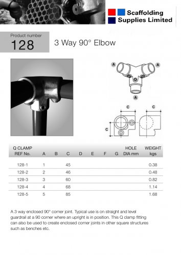 2 off Key Clamp Fittings 90 Degree elbow corner