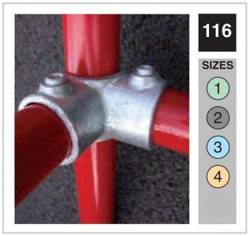3 Way Through Corner Tube Clamp 33.7mm OD - Size 2